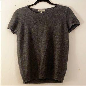 Neiman Marcus Grey Cashmere Short Sleeve Sweater